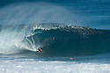 Pierre Louis Costes (FRA) at Pipeline on the Northshore of Oahu in Hawaii.