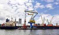 Nederland - Amsterdam -  2020.     Haven  van Amsterdam. Amfert. Drijvende kraan van Maja.  Foto : ANP/ Hollandse Hoogte / Berlinda van Dam