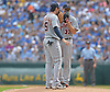 Sep 20, 2014; Kansas City, MO, USA; Detroit Tigers third baseman Nick Castellanos (9) speaks with starting pitcher Max Scherzer (37) early in the game against the Kansas City Royals at Kauffman Stadium. Detroit won 3-2. Mandatory Credit: Denny Medley-USA TODAY Sports