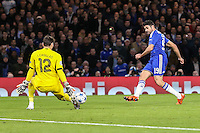 Iker Casillas FC Porto (left) saves a shot from Diego Costa of Chelsea that is subsequently put into his own net by Ivan Marcano FC Porto (not shown) to make it 1-0 to Chelsea during the UEFA Champions League group match between Chelsea and FC Porto at Stamford Bridge, London, England on 9 December 2015. Photo by David Horn / PRiME