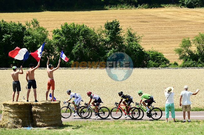 The breakaway group Maxime Bouet (FRA) Fortuneo-Oscaro, Manuele Mori (ITA) UAE Team Emirates, Yohann Gene (FRA) Direct Energie and Dylan Van Baarle (NED) Cannondale Drapac during Stage 7 of the 104th edition of the Tour de France 2017, running 213.5km from Troyes to Nuits-Saint-Georges, France. 7th July 2017.<br /> Picture: ASO/Alex Broadway | Cyclefile<br /> <br /> <br /> All photos usage must carry mandatory copyright credit (&copy; Cyclefile | ASO/Alex Broadway)