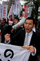 Ikuma Saito, student activist with Zengakren (All Japan Federation of Students' Autonomous Body) at a demo outside Hosei university, Ichigaya, Tokyo, Japan Friday, April 23rd 2010