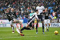 Bolton Wanderers' Zach Clough goes down in the penalty box whilst competing with Fulham's Matt Targett <br /> <br /> Photographer Andrew Kearns/CameraSport<br /> <br /> The EFL Sky Bet Championship - Bolton Wanderers v Fulham - Saturday 10th February 2018 - Macron Stadium - Bolton<br /> <br /> World Copyright &copy; 2018 CameraSport. All rights reserved. 43 Linden Ave. Countesthorpe. Leicester. England. LE8 5PG - Tel: +44 (0) 116 277 4147 - admin@camerasport.com - www.camerasport.com