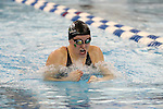 19 February 2016: Notre Dame's Meaghan O'Donnell competes in the 100 Breaststroke preliminary heat 2. The 2016 Atlantic Coast Conference Swimming and Diving Championships were held at the Greensboro Aquatic Center in Greensboro, North Carolina from February 17-27, 2016.