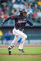Northwest Arkansas Naturals infielder D.J. Burt (1) runs to first base on May 4, 2019, at Arvest Ballpark in Springdale, Arkansas. (Jason Ivester/Four Seam Images)