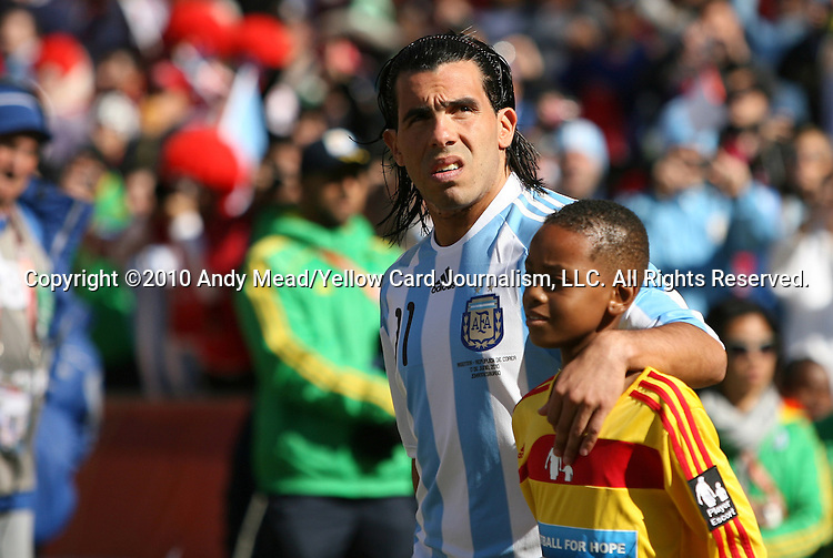 17 JUN 2010: Carlos Tevez (ARG). The Argentina National Team defeated the South Korea National Team 4-1 at Soccer City Stadium in Johannesburg, South Africa in a 2010 FIFA World Cup Group E match.
