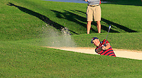 J.B. Holmes US Team plays his 2nd shot from a fairway bunker on the 18th hole during Saturday Afternoon Fourball Matches of the 41st Ryder Cup, held at Hazeltine National Golf Club, Chaska, Minnesota, USA. 1st October 2016.<br /> Picture: Eoin Clarke | Golffile<br /> <br /> <br /> All photos usage must carry mandatory copyright credit (&copy; Golffile | Eoin Clarke)