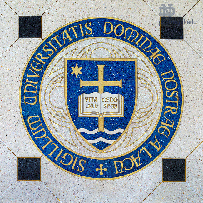 May 11, 2017; University Seal in the floor of Eck Hall of Law (Photo by Matt Cashore/University of Notre Dame)