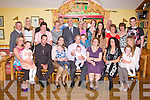 BABY JOY: Proud parents Janene Bailey and Trevor Kelliher, Tralee (seated centre) of little Tomás who was Christening by Fr Francis Nolan at St John's Church, Tralee and celebrated afterwards with family and friends at Stokers Lodge restaurant and bar, Tralee on Saturday.
