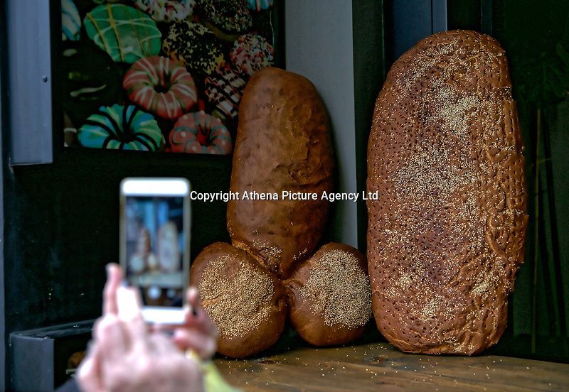 Pictured: A penis-shaped loaf of bread at a bakeryTirnavos, central Greece. 19 February 2018<br /> Re: Bourani (or Burani) the infamous annual carnival which dates to 1898 which takes place on the day of (Clean Monday), the first days of Lent in Tirnavos, central Greece, in which men hold phallus shaped objects as scepters in their hands.
