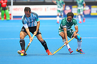 Argentina's captain Pedro Ibarra controls the ball during the Hockey World League Quarter-Final match between Argentina and Pakistan at the Olympic Park, London, England on 22 June 2017. Photo by Steve McCarthy.