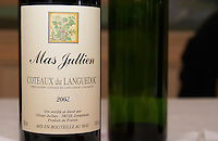 Domaine Mas Jullien, Jonquieres village. Terrasses de Larzac. Languedoc. France. Europe. Bottle.