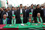 Chairman of the political bureau of the Hamas Palestinian Islamist movement, Ismail Haniyeh and Hamas's leader in the Gaza Strip Yahya Sinwar attend a rally marking the 31th anniversary of the founding of the Hamas movement, in Gaza city, December 16, 2018. Photo by Ashraf Amra