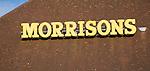 Morrisons supermarket superstore sign on roof, Felixstowe, Suffolk, England