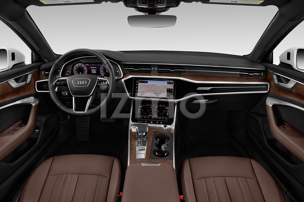 Stock photo of straight dashboard view of 2019 Audi A6 S-Line 4 Door Sedan Dashboard