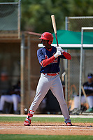 GCL Cardinals center fielder Carlos Soler (43) at bat during a game against the GCL Marlins on August 4, 2018 at Roger Dean Chevrolet Stadium in Jupiter, Florida.  GCL Marlins defeated GCL Cardinals 6-3.  (Mike Janes/Four Seam Images)