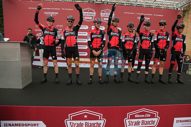 BMC Racing Team at sign on before the start of the 2017 Strade Bianche running 175km from Siena to Siena, Tuscany, Italy 4th March 2017.<br /> Picture: Eoin Clarke | Newsfile<br /> <br /> <br /> All photos usage must carry mandatory copyright credit (&copy; Newsfile | Eoin Clarke)