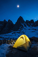 Illuminated tent at night with Mount Whintey in Background, Iceberg Lake, Sierra Nevada Mountains, California