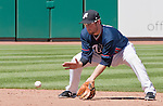 Reno Aces second baseman Tyler Bornick makes the play on a ground ball agianst the Fresno Grizzlies on Sunday afternoon, August 26, 2012 in Reno, Nevada.