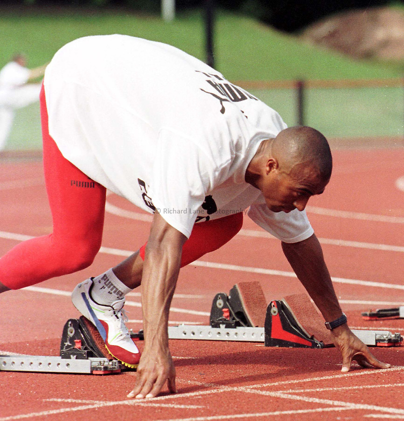 Photo : Garvin Davies.The Welsh Games at Cwmbran Stadium   July 98.Colin Jackson practises a start off the blocks