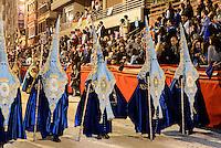 Büßer bei  der Karfreitagsprozession der Semana Santa (Karwoche) in Lorca,  Provinz Murcia, Spanien, Europa
