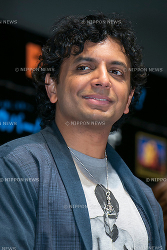 """Director M. Night Shyamalan attends the talk show of the mystery drama """"Wayward Pines"""" at the United Cinemas in Toyosu area on May 21, 2015, Tokyo, Japan. Dillon and Shyamalan are in Japan to promote simultaneous worldwide launch of the mystery drama through the FOX channel. Wayward Pines is an American television series based on the novel Pines by Blake Crouch. (Photo by Rodrigo Reyes Marin/AFLO)"""