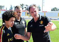 20180228 - LARNACA , CYPRUS :  Belgian Kassandra Missipo (left) , Head Coach Ives Serneels and assistant coach Kris Van Der Haegen (right) pictured discussing before a women's soccer game between The Belgian Red Flames and the Czech Republic , on wednesday 28 February 2018 at GSZ Stadium in Larnaca , Cyprus . This is the first game in group B for Belgium during the Cyprus Womens Cup , a prestigious women soccer tournament as a preparation on the World Cup 2019 qualification duels. PHOTO SPORTPIX.BE | DAVID CATRY
