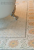 "Bee's Knees 8"" with custom mosaic field in Kay's Green, Carrara, Ming Green, Desert Pink, Rosa Salmon, Crema Valencia tumbled"