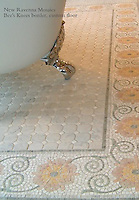 "Bee's Knees 8"" with custom mosaic field in Kay's Green, Carrara, Ming Green, Desert Pink, Rosa Salmon, Crema Valencia tumbled"