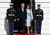 United States President Donald J. Trump and first lady Melania Trump arrive to greet Prime Minister Benjamin Netanyahu and Sara Netanyahu of Israel at the White House in Washington, DC, March 5, 2018.  <br /> Credit: Olivier Douliery / Pool via CNP