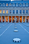 Le Palais Royal, Palace and gardens with 17th century arcades and French artist, Daniel Buren's, striped candy columns in courtyard