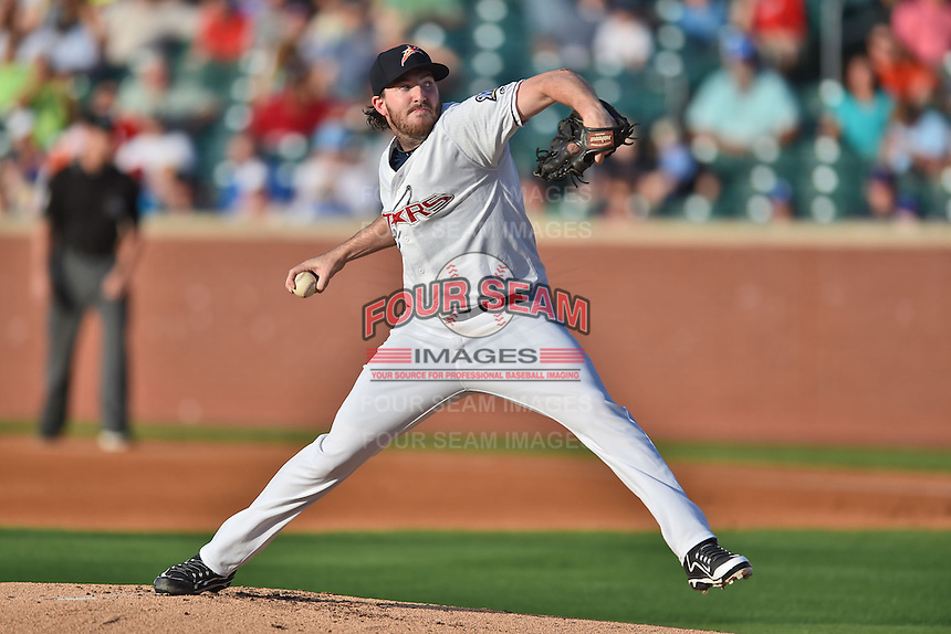 Huntsville Stars pitcher Tyler Cravy #15 delivers a pitch during the Southern League All Star game at AT&T Field on June 17, 2014 in Chattanooga, Tennessee. The Southern Division defeated the Northern Division 6-4. (Tony Farlow/Four Seam Images)