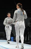 European Championships Fencing 2010 / Fecht Europameisterschaft 2010 in Leipzig - Competition Championat d'europe - im Bild:women sabre - Sibylle KLEMM (GER) against Sophia VELIKAIA (RUS, right)  . Foto: Norman Rembarz..Norman Rembarz , Autorennummer 41043728 , Augustenstr. 2, 04317 Leipzig, Tel.: 01794887569, Hypovereinsbank: BLZ: 86020086, KN: 357889472, St.Nr.: 231/261/06432 - Jegliche kommerzielle Nutzung ist honorar- und mehrwertsteuerpflichtig! Persönlichkeitsrechte sind zu wahren. Es wird keine Haftung übernommen bei Verletzung von Rechten Dritter. Autoren-Nennung gem. §13 UrhGes. wird verlangt. Weitergabe an Dritte nur nach  vorheriger Absprache..