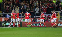 Gareth Bale of Wales celebrates scoring his side's first goal during the FIFA World Cup Qualifying match between Wales and Serbia at the Cardiff City Stadium, Cardiff, Wales on 12 November 2016. Photo by Mark  Hawkins.