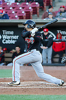 Lansing Lugnuts outfielder Josh Almonte (24) swings at a pitch during a Midwest League game against the Wisconsin Timber Rattlers on April 29th, 2016 at Fox Cities Stadium in Appleton, Wisconsin.  Wisconsin defeated Lansing 2-0. (Brad Krause/Four Seam Images)