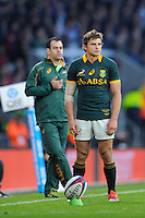 Pat Lambie of South Africa takes a penalty kick during the QBE International match between England and South Africa at Twickenham Stadium on Saturday 15th November 2014 (Photo by Rob Munro)