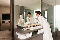 Wedding promotion photo for W Hotel Hong Kong..Model: Phuong Rouzaire.Makeup Artist: Rhine Wong.Hair Stylist: Tim Wong.Photographer: Scott Brooks.Location: Marvelous Suite