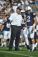 15 September 2012:  Penn State coach Bill O'Brien coaches QB Steven Bench (12). The Penn State Nittany Lions defeated the Navy Midshipmen 34-7 at Beaver Stadium in State College, PA..