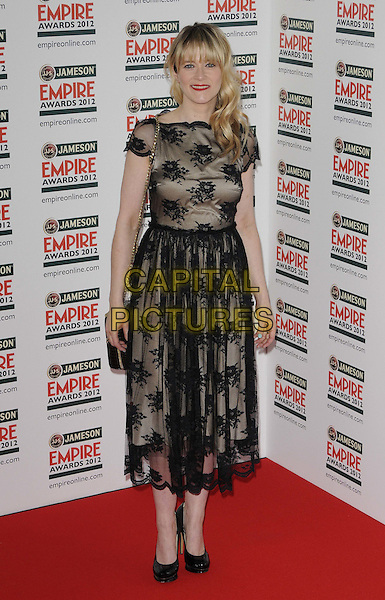 Edith Bowman.The Jameson Empire Film Awards 2012, Grosvenor House Hotel, Park Lane, London, England..March 25th, 2012.full length beige sheer lace dress black  .CAP/CAN.©Can Nguyen/Capital Pictures.