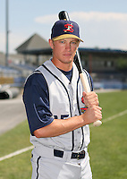 2007:  James Barksdale of the State College Spikes poses for a photo prior to a game vs. the Batavia Muckdogs in New York-Penn League baseball action.  Photo By Mike Janes/Four Seam Images
