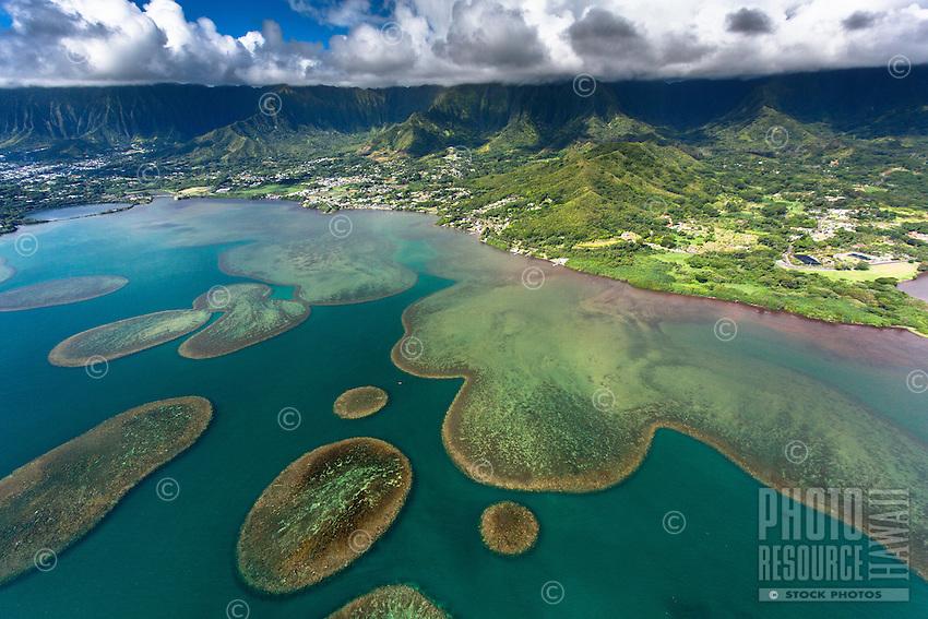 An aerial view of Kane'ohe Bay and the Ko'olau Mountains at Waikane and Kahalu'u, O'ahu.