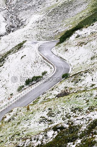 Switzerland, Western Europe, Uri, Susten region nr. Wassen. Sustenpass. First snow on the eastern ascent from Wassen towards the top of the Susten mountain pass.