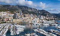 Panoramic overview of Port Hercule in Monaco.