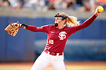OKLAHOMA CITY, OK - JUNE 04: Meghan King #48 of the Florida State Seminoles pitches against the Washington Huskies during the Division I Women's Softball Championship held at USA Softball Hall of Fame Stadium - OGE Energy Field on June 4, 2018 in Oklahoma City, Oklahoma. (Photo by Shane Bevel/NCAA Photos via Getty Images)