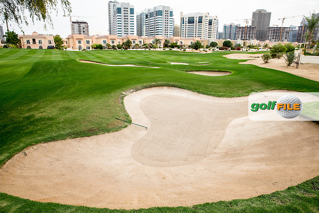 Fairway bunkers on the 5th at The Els Club , Dubai, United Arab Emirates.  28/01/2016. Picture: Golffile | David Lloyd<br /> <br /> All photos usage must carry mandatory copyright credit (&copy; Golffile | David Lloyd)