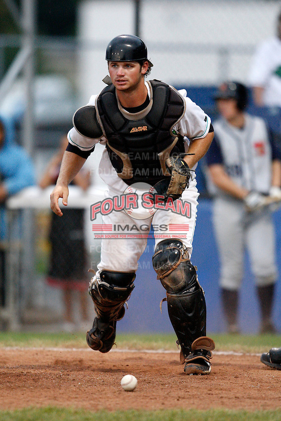 July 30, 2009:  Catcher Robert Taylor of the Jamestown Jammers during a game at Russell Diethrick Park in Jamestown, NY.  The Jammers are the NY-Penn League Short-Season Single-A affiliate of the Florida Marlins.  Photo By Mike Janes/Four Seam Images