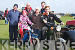 MOTOR BIKES: Going for a spin on one of the many vintage motor bikes on show at the Maurice Collins Vintage Day, Sunday were, Tim Fl;aherty Ardfert, maebh and Mary Griffin (Ballyheigue), Fintan Marren, Tom Morrissey and Maurice McAulliffe (Knocknagoshel).