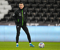 29th November 2019; Liberty Stadium, Swansea, Glamorgan, Wales; English Football League Championship, Swansea City versus Fulham; Bersant Celina of Swansea City warms up before the match  - Strictly Editorial Use Only. No use with unauthorized audio, video, data, fixture lists, club/league logos or 'live' services. Online in-match use limited to 120 images, no video emulation. No use in betting, games or single club/league/player publications