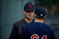 AZL Indians pitching coach Mike Steele (36) talks to pitcher Alec Wisely (64) during an Arizona League game against the AZL Padres 1 on June 23, 2019 at the Cleveland Indians Training Complex in Goodyear, Arizona. AZL Indians Red defeated the AZL Padres 1 3-2. (Zachary Lucy/Four Seam Images)