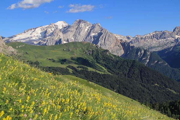 View from Passo Pordoi toward Mt Marmolada in the Dolomites, northern Italy, Europe.